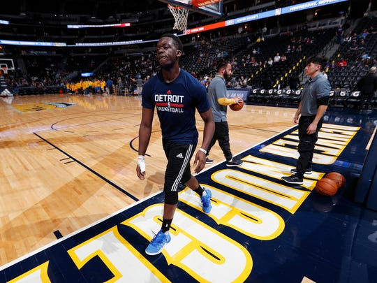 Injured Detroit Pistons guard Reggie Jackson leaves the court after practicing Nov. 12, 2016, in Denver.