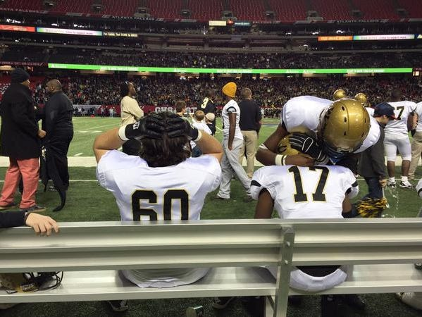 Washington County players after their narrow loss to Calhoun in the AAA state championship