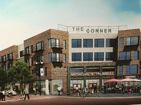 "Rendering shows ""The Corner,"" the Eric Larson plan"