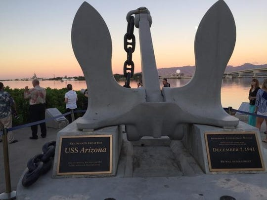 The ship's anchor at Pearl Harbor.