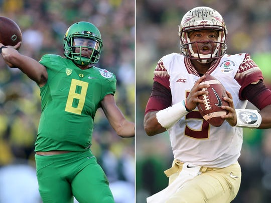 Marcus Mariota of Oregon (left) and Jameis Winston of Florida State