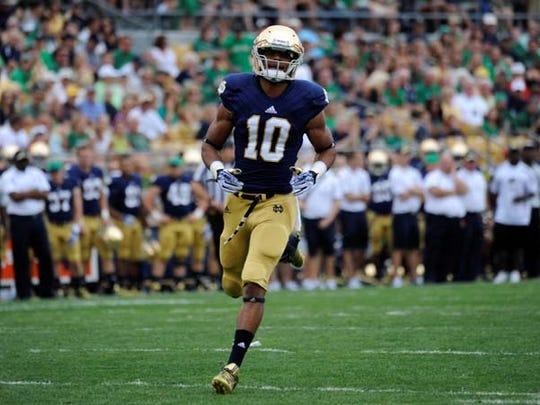 Notre Dame wide receiver Davaris Daniels heads downfield