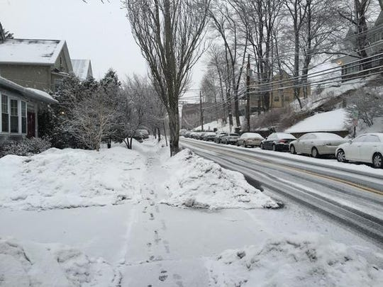 Light snow falls in Morristown  at 7 a.m. Thursday morning.
