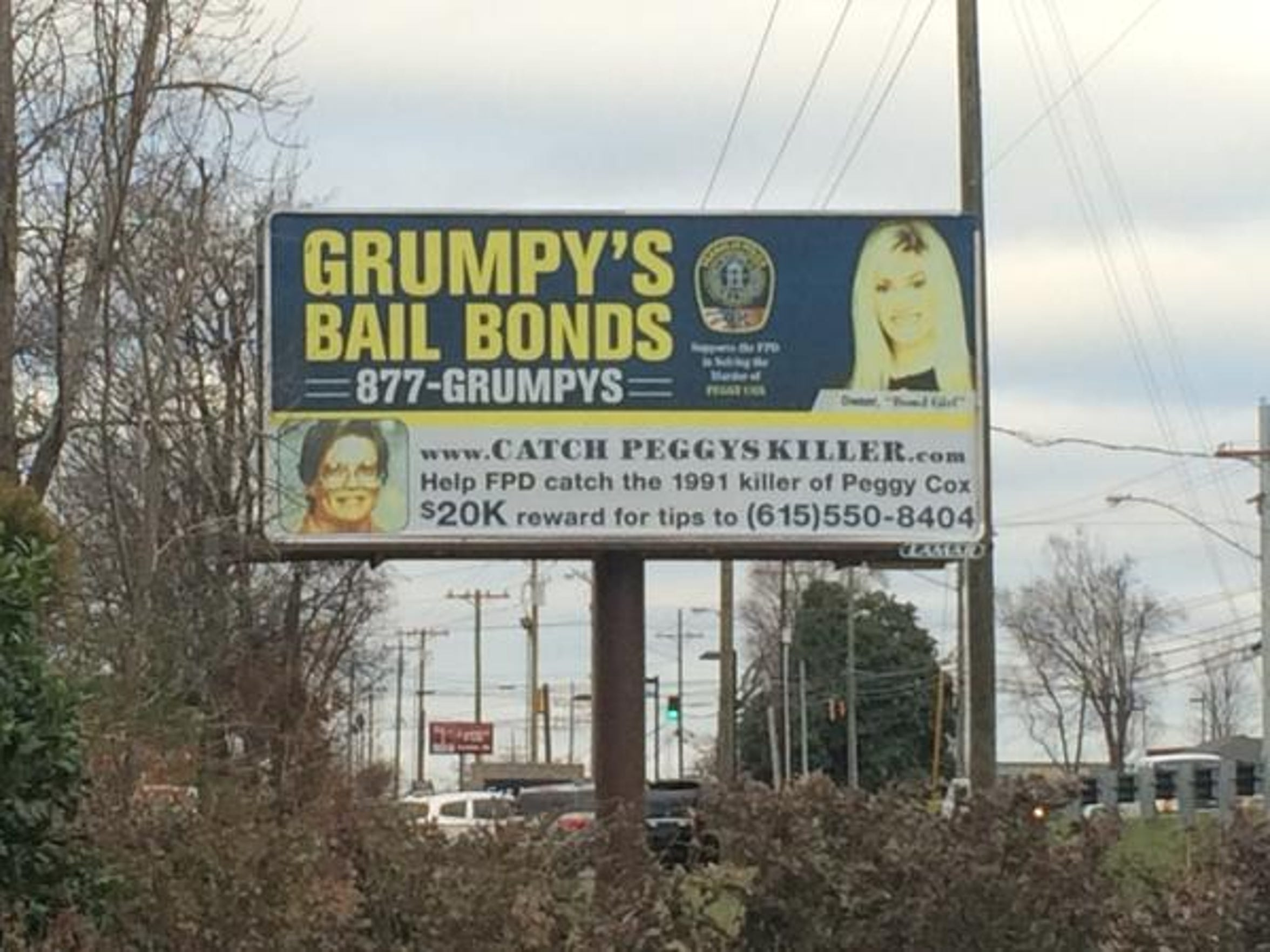 A billboard posted along Columbia Avenue in Franklin, which has since been taken down, asks for help finding Peggy Cox's killer. The billboard was the result of cooperation between Grumpy's and the City of Franklin.