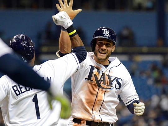 Tampa Bay Rays center fielder Kevin Kiermaier (39) celebrates with second baseman Tim Beckham (1) after hitting a two run home run in the sixth inning of the game against the Baltimore Orioles    at Tropicana Field.