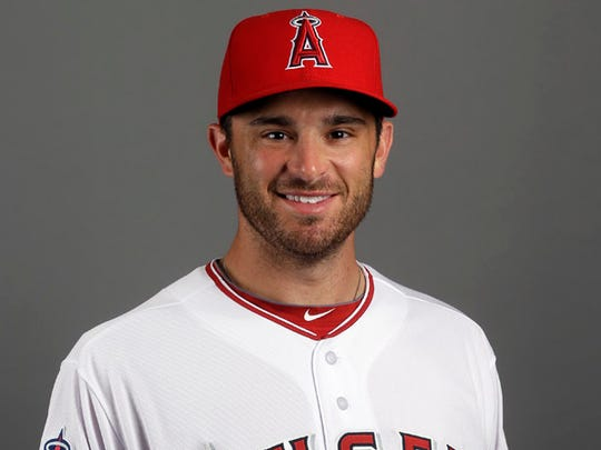 This is a 2015 photo of Los Angeles Angels' Drew Butera. This image reflects the Angels active roster as of Saturday, Feb. 28, 2015, when the photo was taken. (AP Photo/Morry Gash)