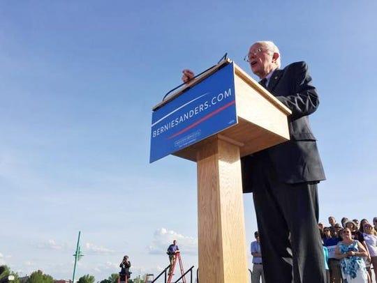 Sen. Bernie Sanders, I-Vt., speaks at the launch of