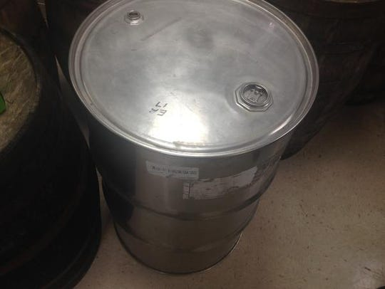 A stainless steel barrel in evidence in the bourbon