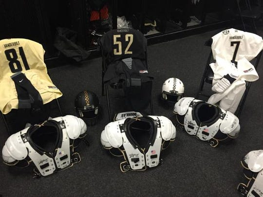 Vanderbilt football uniforms for 2015 season, from team picture day on Wednesday.