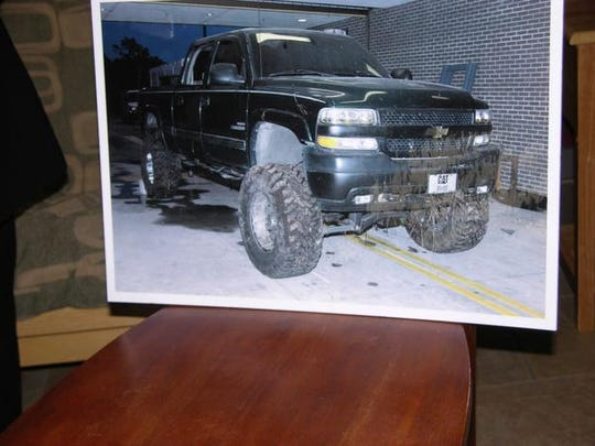 A photograph of the truck recovered from a pond belonging to a missing volunteer firefighter.