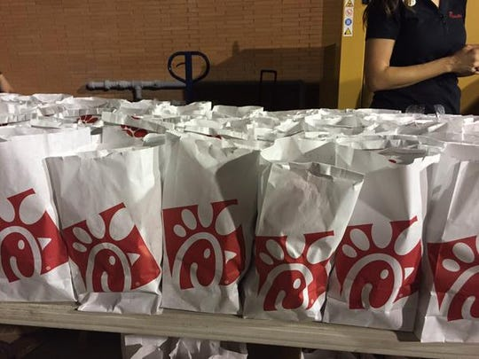 Inside these white bags outside Mississippi State's locker room was delicious Chick-fil-A ... on a Sunday!