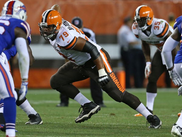 Cleveland Browns tackle Andrew McDonald (79) against the Buffalo Bills during an NFL preseason football game, Thursday, Aug. 20, 2015, in Cleveland. (AP Photo/Ron Schwane)