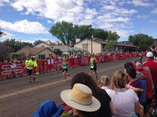 Runners near the finish line at the 2015 St. George Marathon.