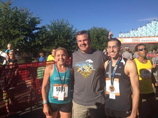 Mayor Jon Pike celebrates with 2015 t. George Marathon