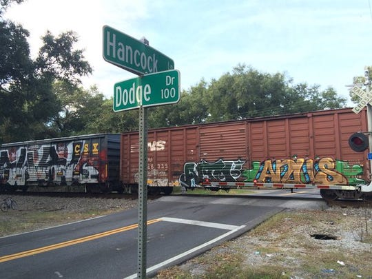 A CSX train currently is stalled on the north-south run near Old Palafox Highway.