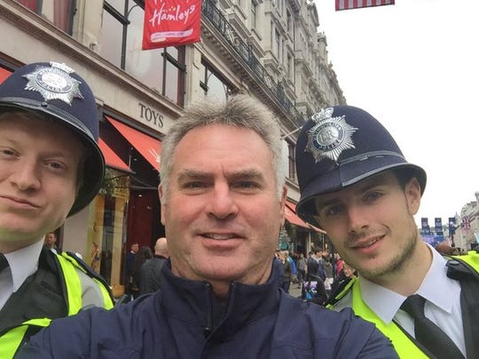 We don't know what Buffalo Bills reporter Sal Maiorana gets a selfie with a pair of London bobbies.