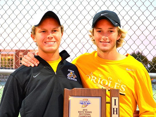 Avon tennis players Sam Caskey and Alex Collins