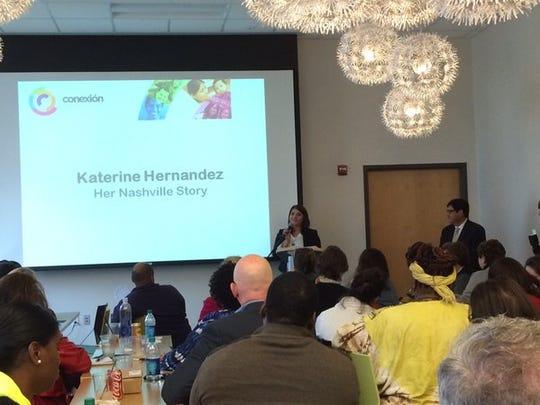Katerine Hernandez tells her story to the Diversity Nashville Bus Tour participants at Casa Azafrán on Oct. 26, 2015.