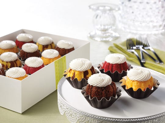 Nothing Bundt Cakes is serving red velvet and chocolate chip bundtinis — mini bundt cakes.