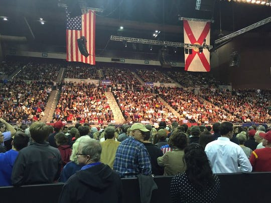 Pensacola Bay Center filled to brim for Donald Trump rally. Crowd listening to speakers preceding Trump. #PNJTrump