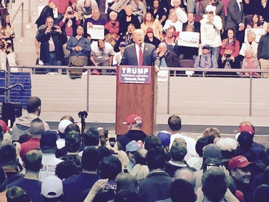 "Coming in to ""Eye of the Tiger,"" @realDonaldTrump opens by mocking media; saying ""we don't win anymore."" #pnjtrump"