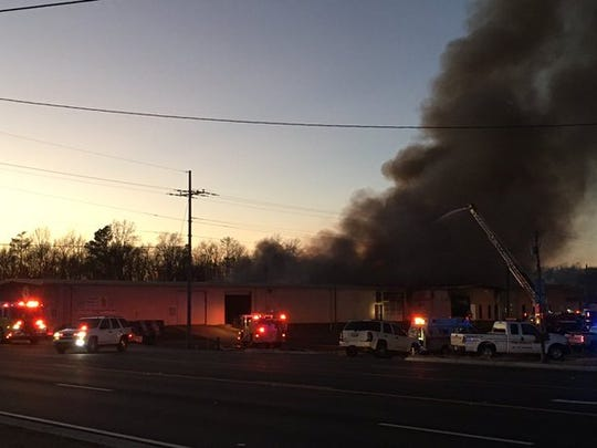 A warehouse building that housed three businesses on Flowood Drive caught fire Thursday night.