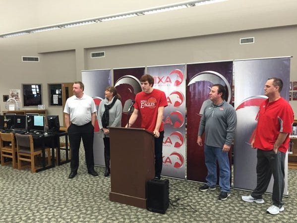 Chase Allen at his press conference at the Nixa High School Library.