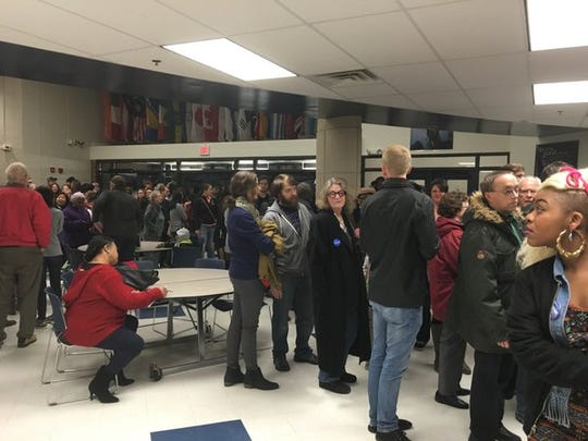 Long line forms at Des Moines precinct 58 on caucus night.