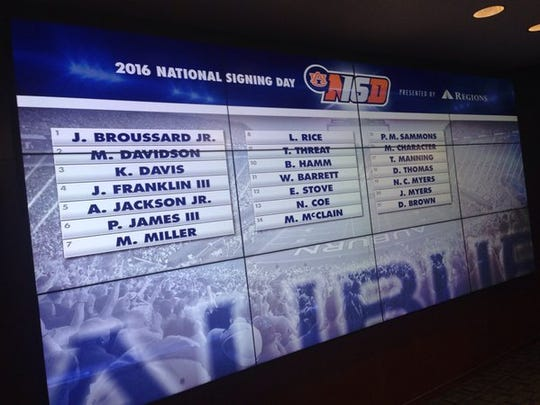 Auburn's 2016 signing day class shown on the board in Auburn's athletic facility.