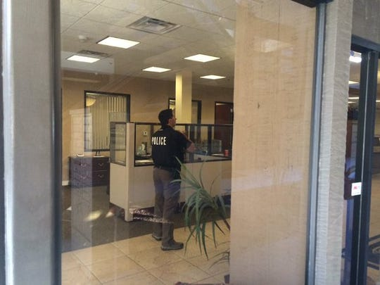 Police are responding to a robbery at a Pacific Premier bank in Palm Springs Friday afternoon.