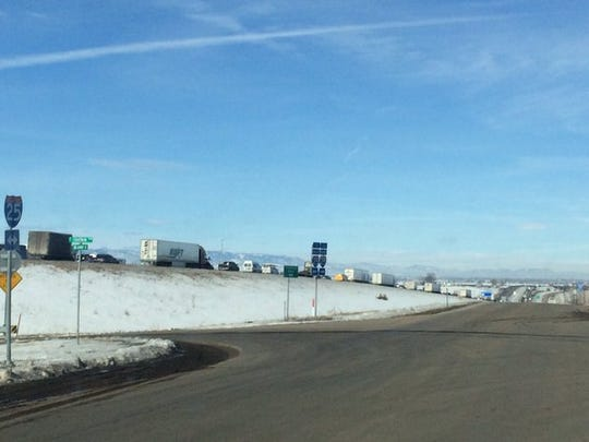 Traffic is backed up over two miles on northbound I-25