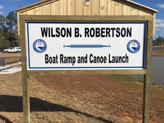 Wilson B. Robertson boat ramp sign.