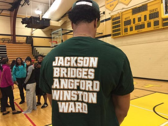 """Miles Bridges, who has signed to play at MSU for the 2016-17 season, models a shirt after he committed to play for MSU on Oct. 3 in his hometown of Flint. The front of the shirt reads, """"#TheClass"""" and the back has the list of five names. Four of them have signed to play for Tom Izzo's Spartans, with Josh Jackson being the final target."""