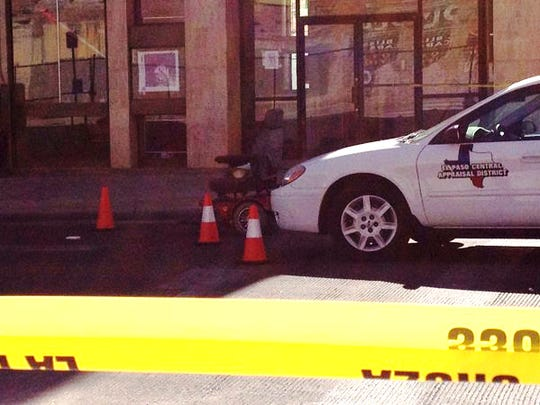 A person in a wheelchair was hit by a car and seriously injured Wednesday afternoon in Downtown El Paso.