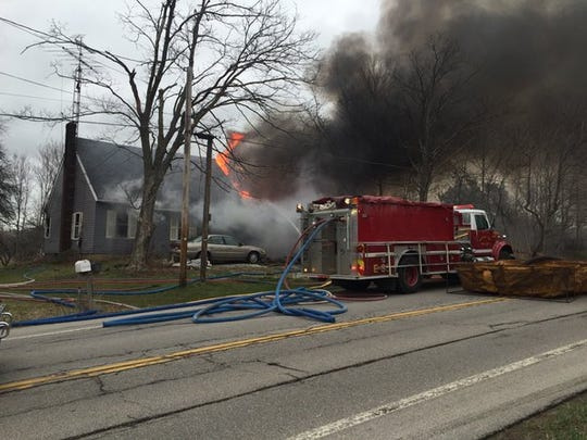House fire at 2525 Ohio 96, east of Olivesburg.