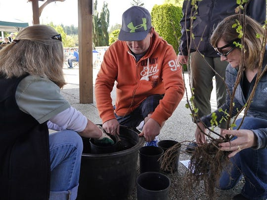 During Earth Day demonstrations at Oregon Garden in