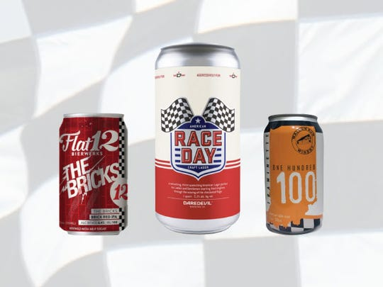 Row 1, from left, The Bricks IPA, Race Day lager, and