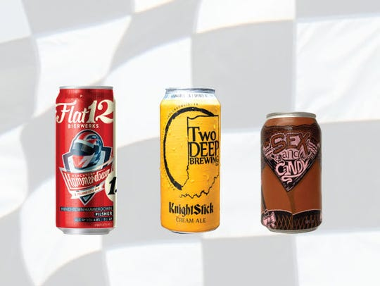 Row 5, from left, Hinchtown Hammerdown pilsner, KnightStick