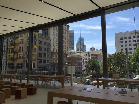 The interior of the new Apple flagship store in San