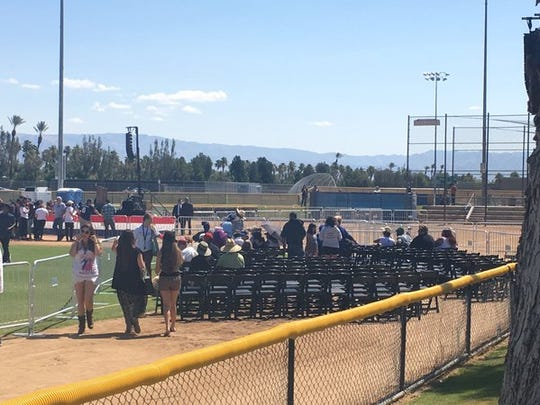 People are taking their seats for Sen. Bernie Sanders' rally at Big League Dreams in Cathedral City.
