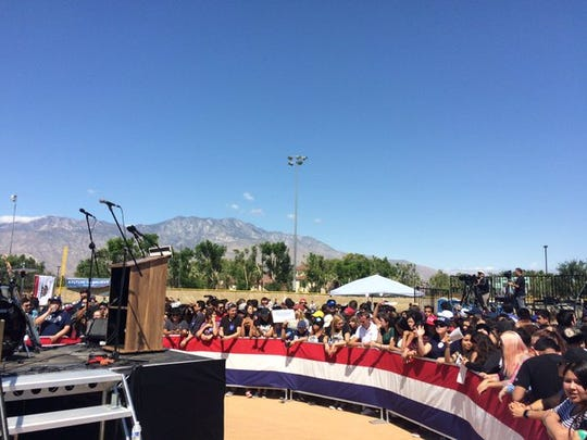 A barrier separates attendees from the stage Bernie Sanders will use during his speech in Cathedral City.