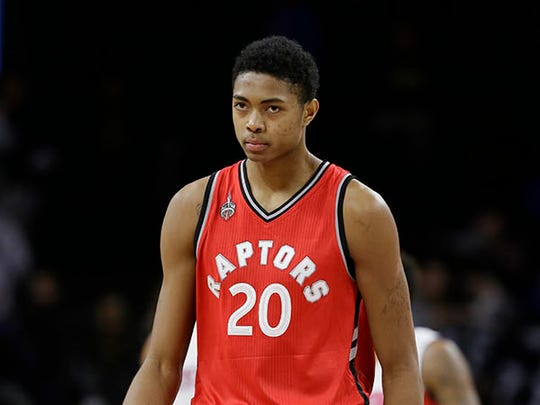 Toronto Raptors forward Bruno Caboclo walks to the bench after the second half of an NBA basketball game against the Detroit Pistons, Monday, Feb. 8, 2016 in Auburn Hills, Mich.