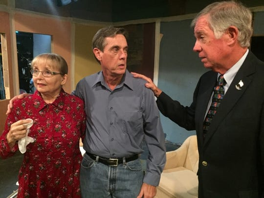 """Carol Farley, Steve Cohen, and Tom Farley star in Barn Theatre's  """"A Nice Family Gathering."""""""