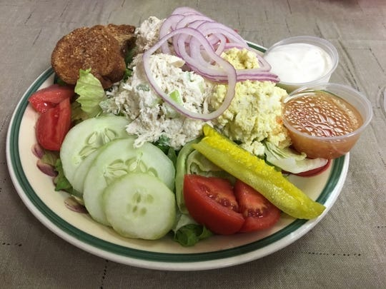 Ellie's Breakfast and Sub Shop's deli salad trio with egg, tuna and chicken salads.