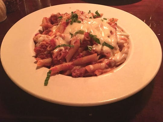 Tutto Italiano's penne al forno is pasta with a light Bolognese and baked mozzarella cheese.