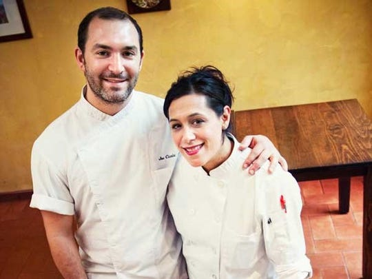 Angela Ranalli-Cicala and Joe Cicala share kitchens at Brigantessa and Le Virtú in Philadelphia, as executive chef and pastry chef respectively. The couple are also part owners of Brigantessa.