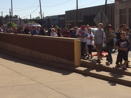 A line of people waits to get into the Donald Trump rally in Evansville in 2016.