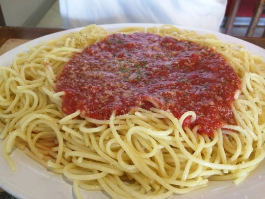 Danny's Pizza's small spaghetti was a much larger portion