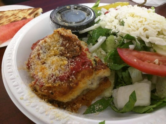 Olympia Cafe's moussaka is a baked Greek eggplant casserole