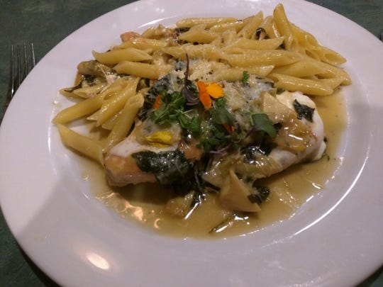 Vincent's chicken marsala with mushrooms served with penne.